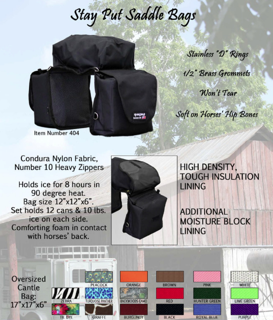 Equi Tech Stay Put Insulated Saddle Bags with Cantle Bag-Color Choices