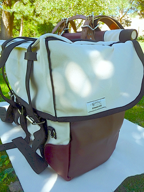 Canvas Pack Panniers  with Leather Ends