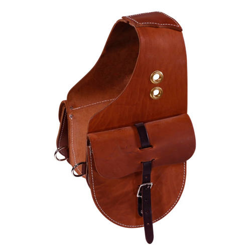 Skirting Leather Saddle Bags with Grommets and Tie Down Rings