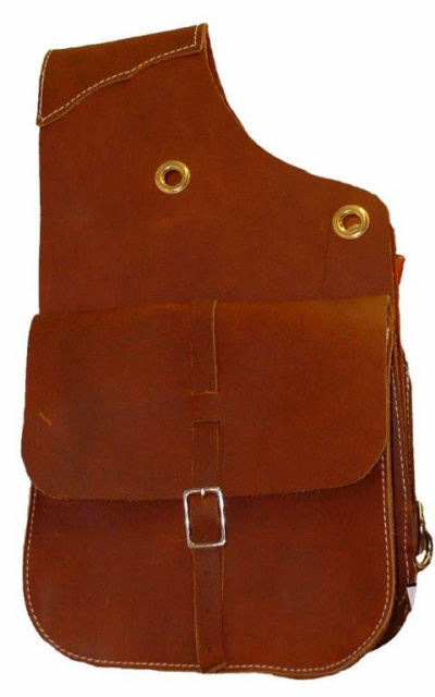 Soft Chap Leather Saddle Bags with Grommets and Tie Down Rings