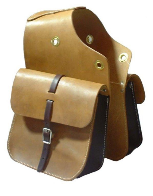 Skirting Leather Saddle Bags - Light Oil with Grommets