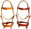 "Amish Made "" Rough Rider"" Caveson Old Tyme Snap Crown Mule Headstall-Color Choice-Concho Option"