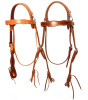Amish made lined Old Tyme Mule Scalloped Snap Crown Headstall - Light Russet - CHoose with or without Concho
